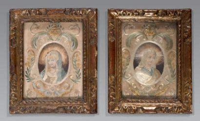 Deux «peintures à l'aiguille» en broderie...