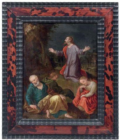 École Flamande du XVIIe siècle Le Christ au Jardin des Oliviers Huile sur cuivre....