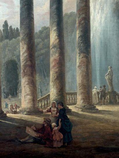 Hubert ROBERT (Paris 1733 - Paris 1808) Fontaine sous un portique ou Le portique...