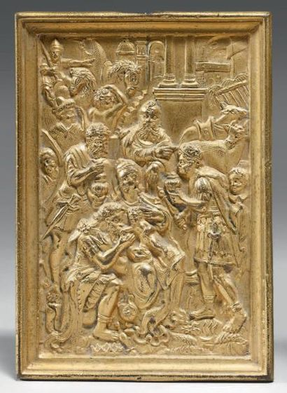 Plaquette en bronze doré ornée d'une Adoration...