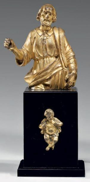Statuette d'un saint en buste, en bronze...