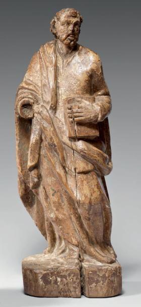 Statuette en bois doré représentant un évangéliste...