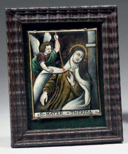 Plaque en émail polychrome représentant Sainte...