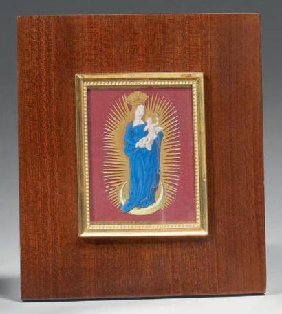 Enluminure découpée représentant une Vierge...