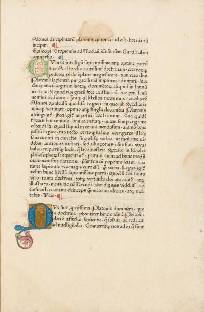 [APULÉE (Lucius)] Alcinoi disciplinarum platonis epitoma. id est. breuiarium // incipit....