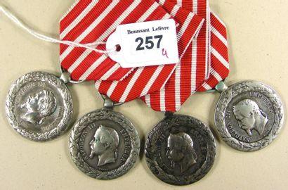 Second Empire - Lot de quatre médailles de...