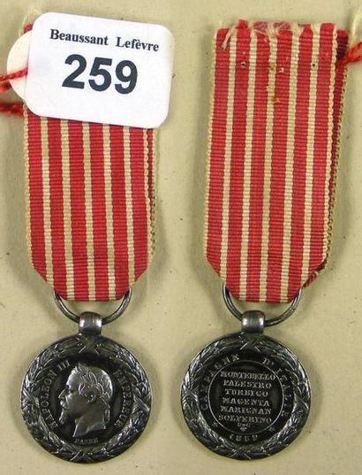 Second Empire - Médaille de la campagne d'Italie,...