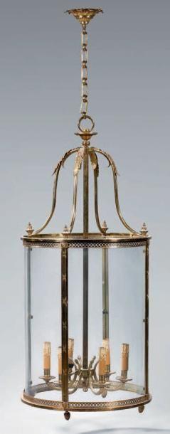 Grande lanterne cylindrique à monture cage...