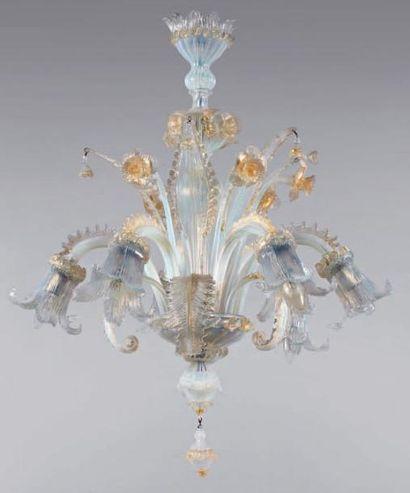 Lustre en verre bleuté de Venise à fut balustre...