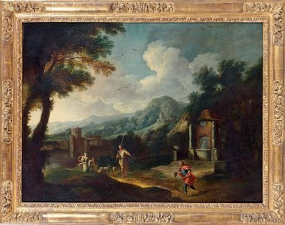 Entourage de Andrea LOCATELLI Bergers et troupeau près d'une fontaine Huile sur toile,...
