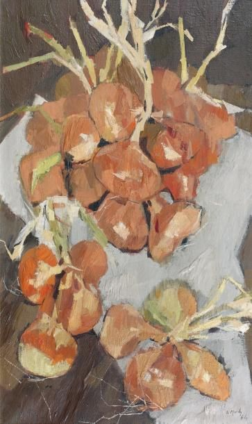 Jean LE MERDY (né en 1928) Les oignons, 1964 Huile sur toile, signée et datée 64...