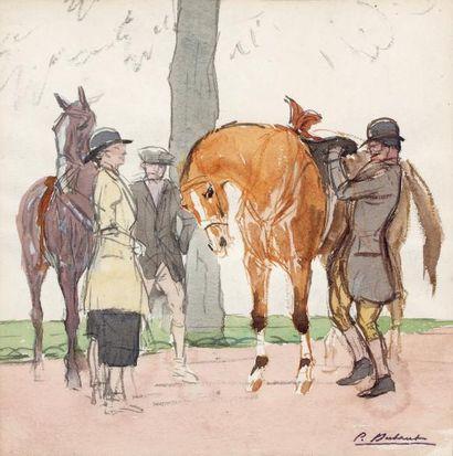 PIERRE OLIVIER DUBAUT (1886-1968) Avant la promenade Aquarelle, porte le timbre de...