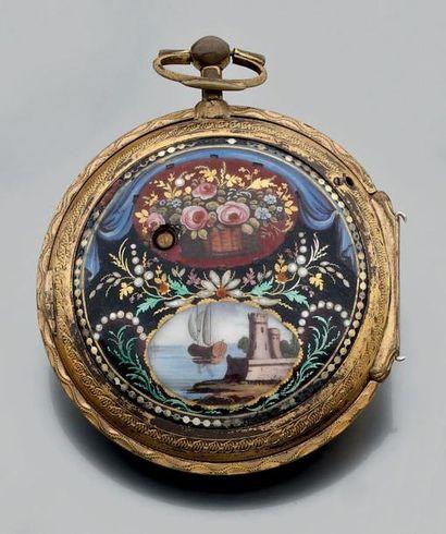 Large montre de poche à clef en laiton gravé...