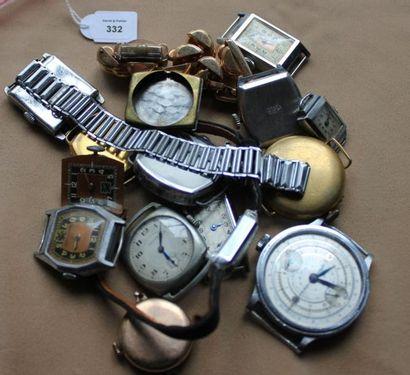 Lot d'environ quinze montres ou boîtiers...