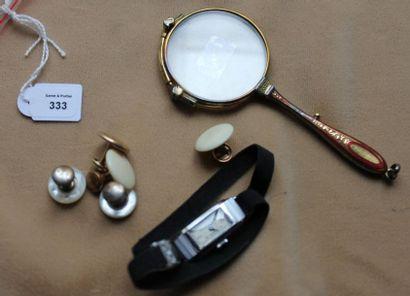 Lot de bijoux fantaisie: face à main; montre...