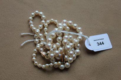 Collier de perles de culture blanches en...