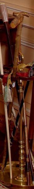 Canne en bambou à pommeau en métal doré feuillagé....