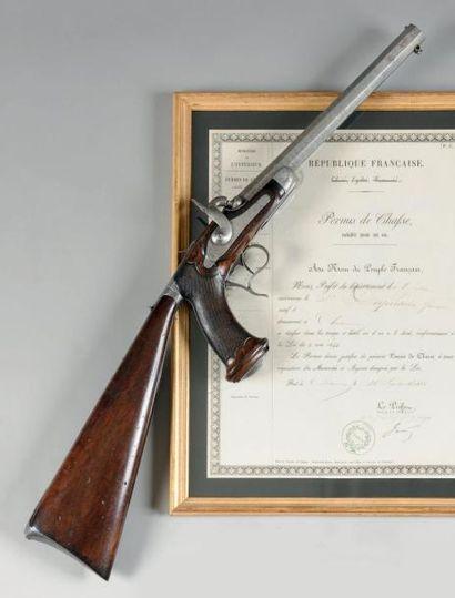 """ALLEMAGNE, FRANCE, ITALIE Pistolet carabine """"Delvigne"""" à percussion, un coup, calibre..."""