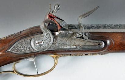 ALLEMAGNE, FRANCE, ITALIE Long fusil de chasse à silex, un coup, calibre 15,8 mm....