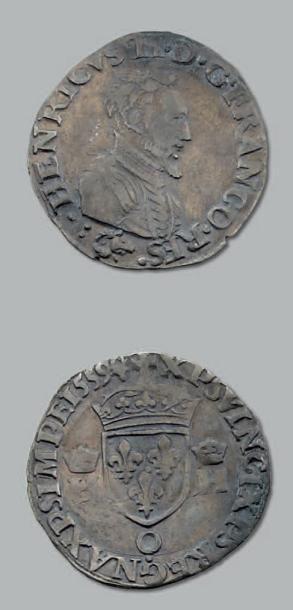 Demi teston. 2e type au nom d'Henri II. 1559....