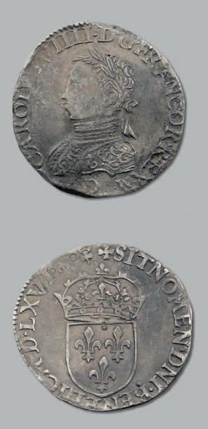 Teston. 4e type. 1566. Lyon. D. 1071. TTB...