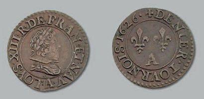 Denier tournois. 1626. Paris. Joint double...