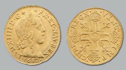 Louis d'or à la mèche longue. 1652. Rouen....