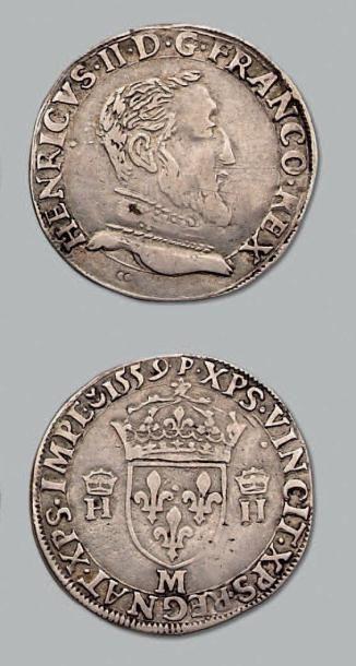 Teston, 2e type au nom d'Henri II. 1559....