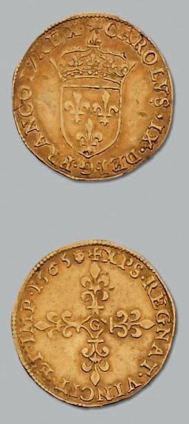 Écu d'or au soleil. 1565. Poitiers. D. 1057....