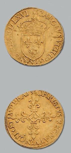 Écu d'or au soleil. 1566. Paris. D. 1057....