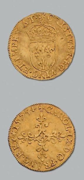 Écu d'or au soleil au nom de Charles IX....