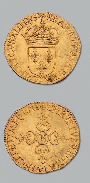 Écu d'or au soleil. 1633. Rouen. D. 1282....