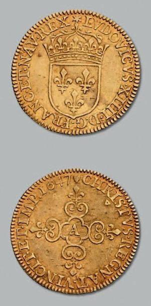 Écu d'or au soleil. 1647. Paris. D. 1416....