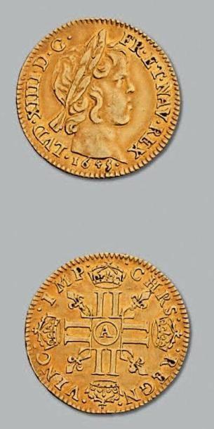 Demi louis d'or à la mèche courte. 1645....