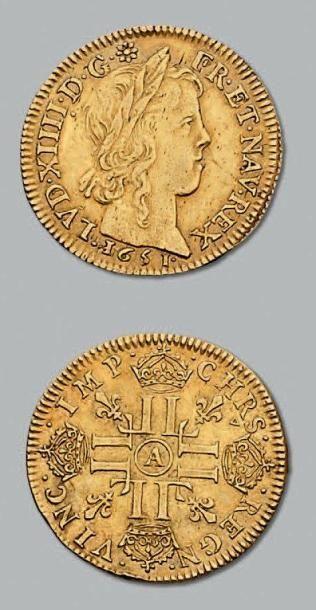 Louis d'or à la mèche longue. 1651. Paris....