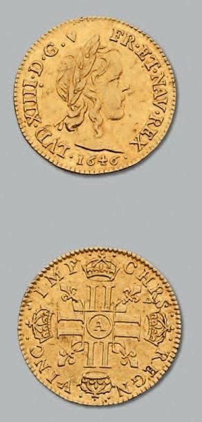 Demi louis d'or à la mèche longue. 1646....