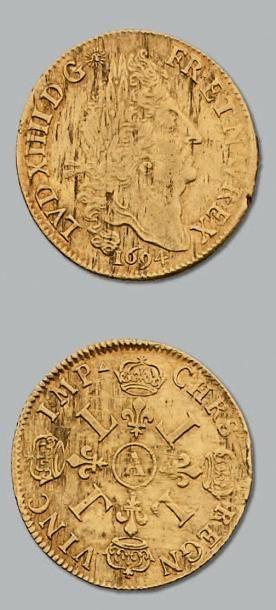 Double louis aux quatre L. 1694. Paris. Flan...