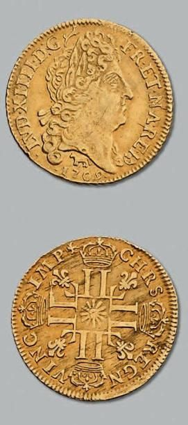 Louis d'or de Béarn au soleil. 1709. Pau....