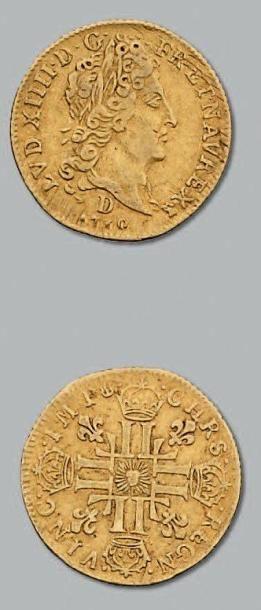 Demi louis d'or au soleil. 1710. Lyon. D....