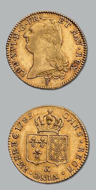 Double louis d'or au buste nu. 1789. Bordeaux....
