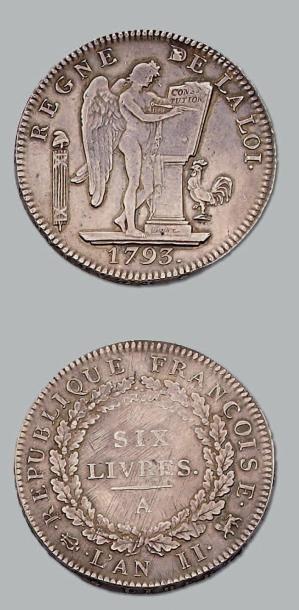 6 Livres. 1793. Paris. G. 58. TTB à supe...