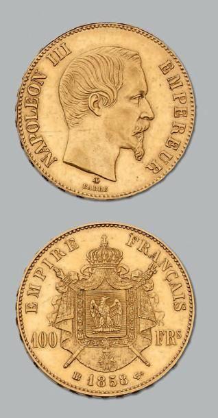 100 Francs or, tête nue. 1858. Strasbourg...