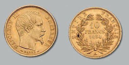 10 Francs or, tête nue, petit module. 1857....