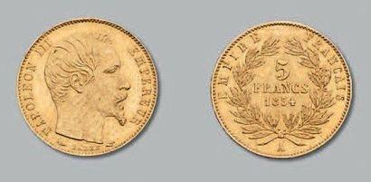 5 Francs or, petit module. 1854. Paris. G....