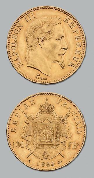 100 Francs or, tête laurée. 1869. Paris....