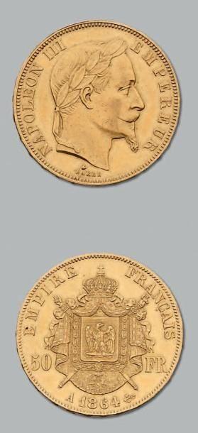 50 Francs or, tête laurée. 1864. Paris. G....