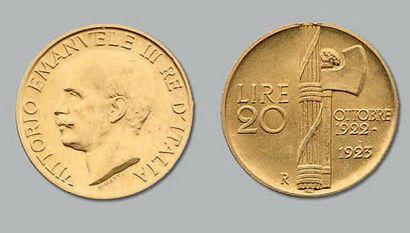 20 Lire or. 1923. Fr. 31. TTB à superbe....