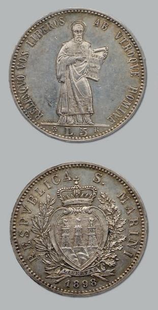 5 Lire. 1898. kM. 6. Superbe. RÉPUBLIQUE...