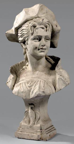 Buste de jeune femme au chapeau en fonte...