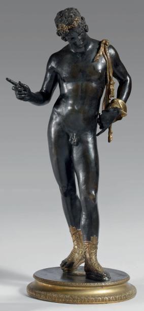 Grande statuette en bronze patiné et bronze...